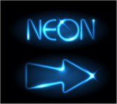 Blue neon arrow — Stock Vector