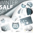 Set of silver winter discount elements — Stock Vector