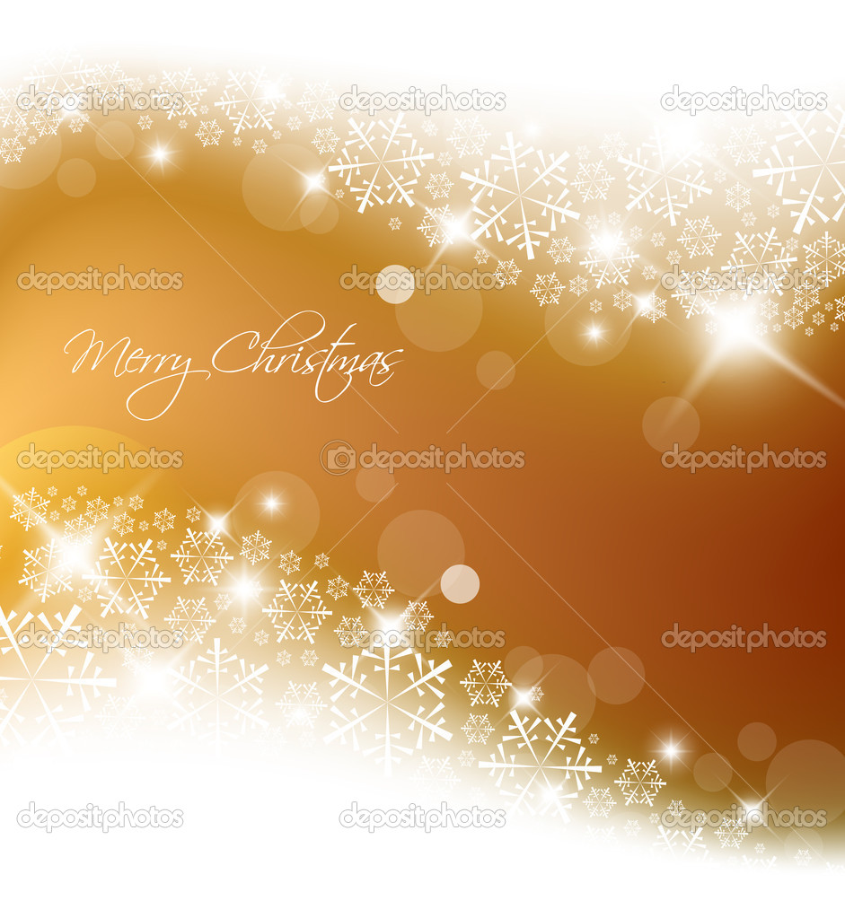 Golden abstract Christmas background with white snowflakes  Stock Vector #5214156