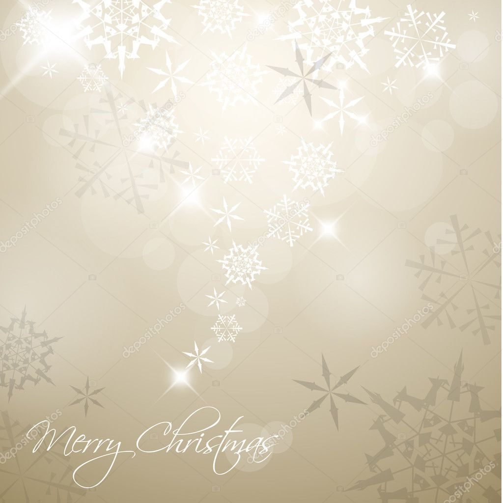 Golden Vector Christmas background with white snowflakes and place for your text  Stock Vector #5214181