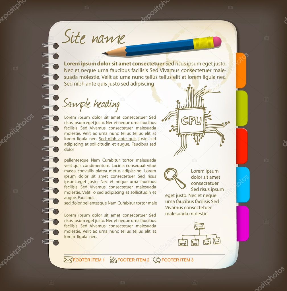 Web site template - Open notepad with colorful bookmarks — Stock Vector #5239772