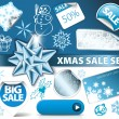 Set of Christmas discount elements - Stock Vector