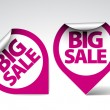 Round Labels stickers for big sale — Image vectorielle