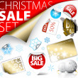 Set of Christmas discount tickets, labels, stamps — Stockvectorbeeld
