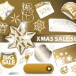 Royalty-Free Stock Vector Image: Set of Christmas golden discount tickets
