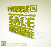 Green 3D qr code for discounted item — Stock Vector