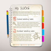 Blog web site template — Vector de stock