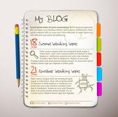 Blog web site template — Stock Vector
