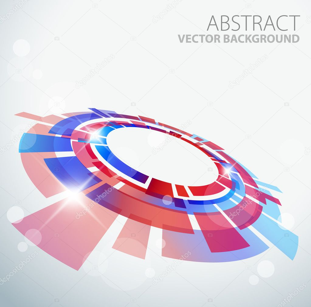 Abstract background with 3D red and blue object and place for your text — Stock Vector #5241293