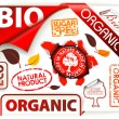 Set of red bio, eco, organic elements — Stock Vector
