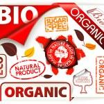 conjunto de rojo bio, eco, elementos orgánicos — Vector de stock