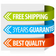 Tags for free shipping, guarantee and quality - Stock Vector