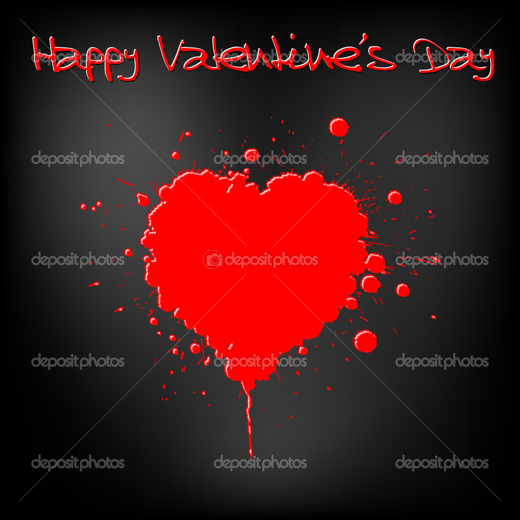 Grunge Valentines day card - heart from yellow spatters — Stock Vector #5278122