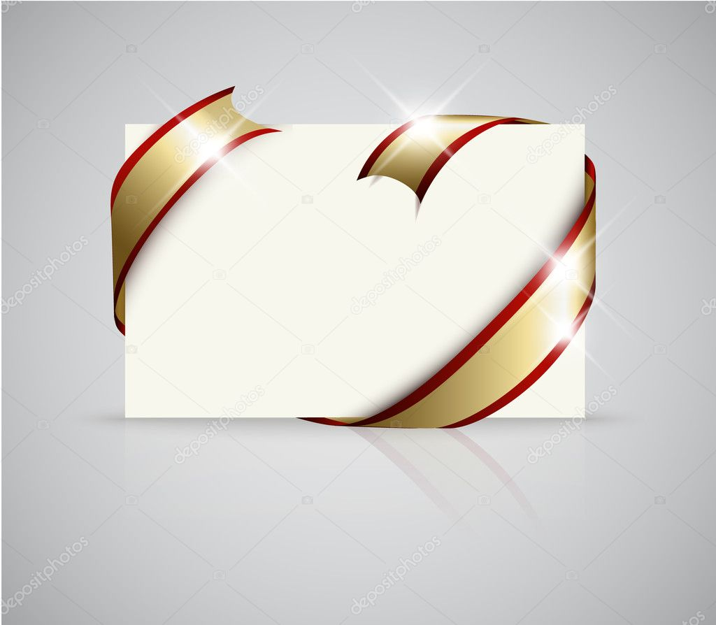 Wedding card - Golden ribbon around blank white paper, where you should write your text — Stock Vector #5278367