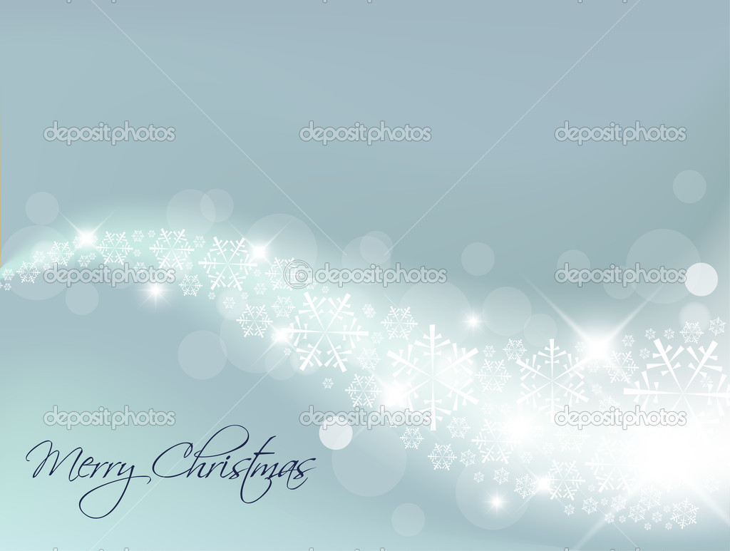 Light Blue Abstract Christmas background with white snowflakes — Imagens vectoriais em stock #5299959