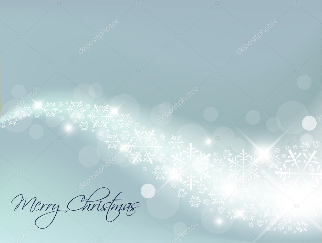 Light Blue Abstract Christmas background with white snowflakes — Stockvectorbeeld #5299959