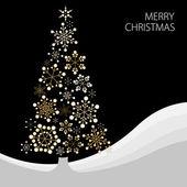 árbol de navidad hecho de copos de nieve — Vector de stock