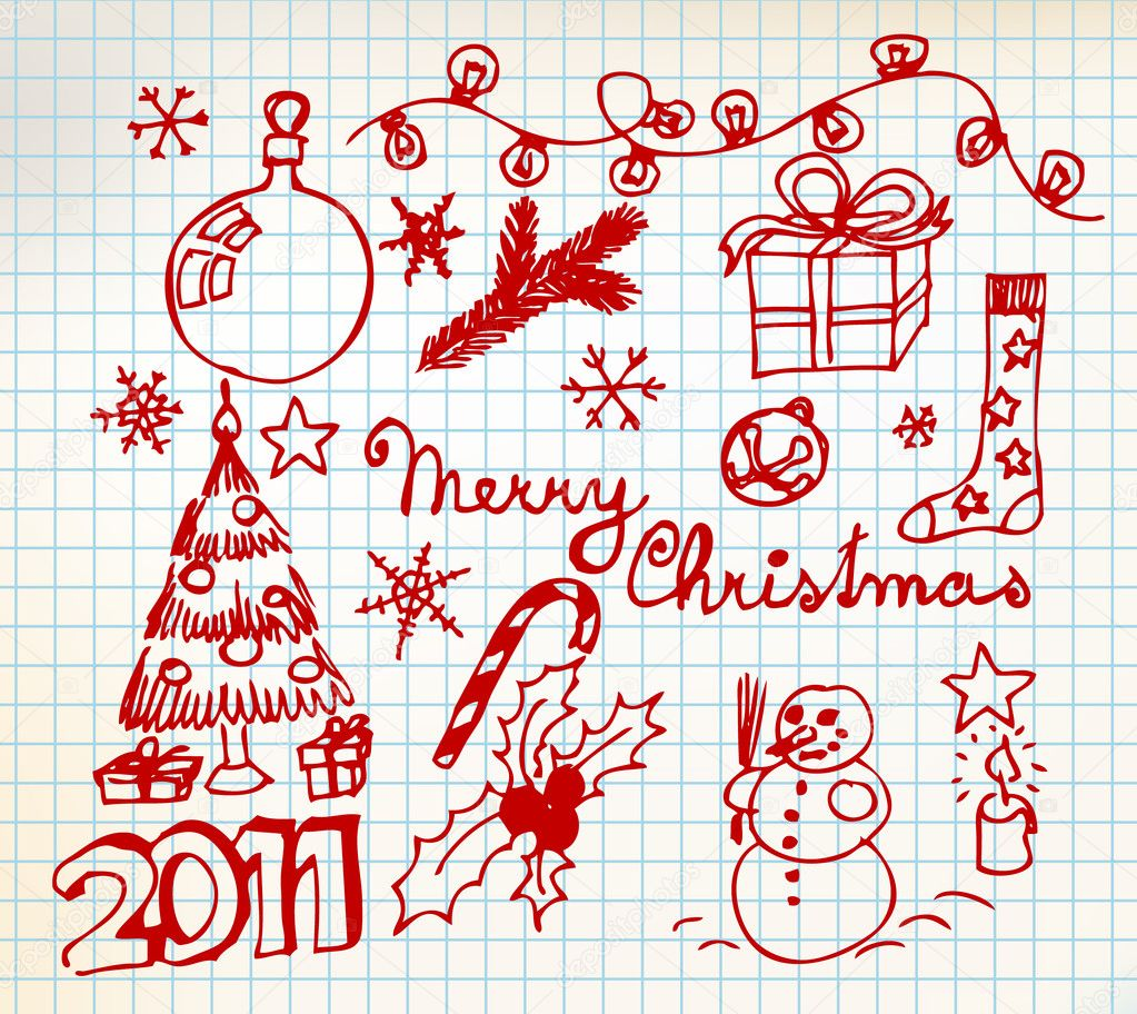 Vector Christmas and New Year doodle illustrations — Stock Vector ...