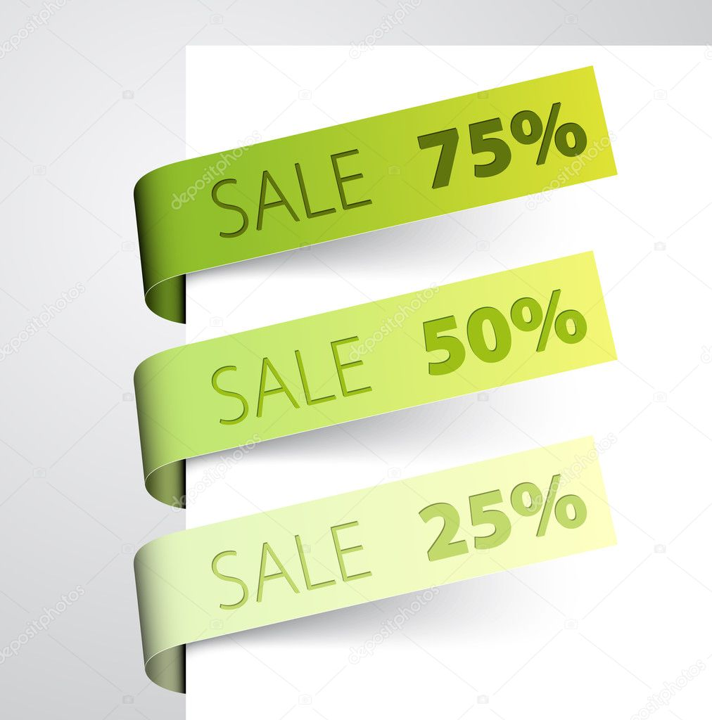 Set of green paper tags - Vector sale announcement — Stock Vector #5305700