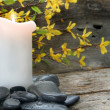 Stock Photo: Candle and River Rocks