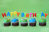 Happy Birthday Cupcakes — Stock Photo