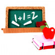 Blackboard, Apple and Books — Stock Photo