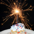 Cupcake and Sparkler — Stock Photo