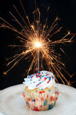 Cupcake and Sparkler — Stock Photo