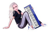 Girl with a synthesizer — Stock Vector