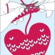 Knit heart — Stock Vector