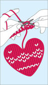 Knit heart — Stock Vector