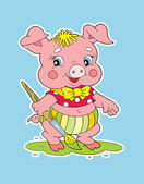 Pig pink — Stock Vector