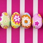 Пасхальные яйца на полосатом фоне — Stock Photo