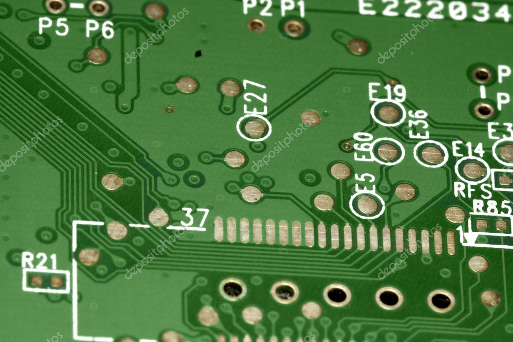 Close view detail of a green computer circuit board. — Stock Photo #5230875