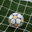 View of a soccer ball inside the goalpost — Stock Photo #5261723