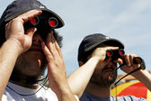 Two binocular users — Stock Photo