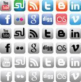 Icônes de médias sociaux — Vecteur