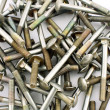 Stock Photo: Galvanized screws on white