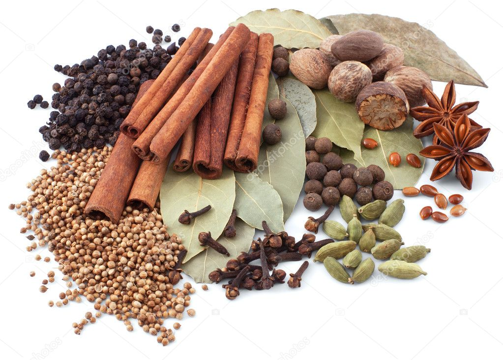 Various spices isolated on white background — Foto Stock #5304487