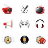 Iconos de los medios de comunicación — Vector de stock