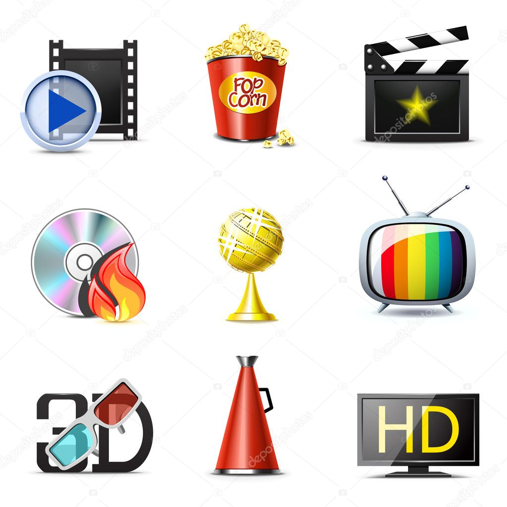 Movie and entertainment icons — Stock Vector #5188469