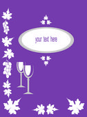 Text card with grapes, leaves and glasses. — Stock Photo