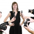 Actress with cameras and microphones — Stock Photo #5253846