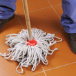 Man with mop — Stock Photo