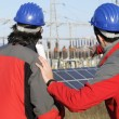 Engineer in a solar panel station — Stock Photo #5255245