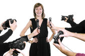 Actress with cameras and microphones — Stock Photo
