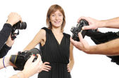 Model and cameras — Stock Photo