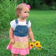 Stock Photo: Cute toddler girl with flowers