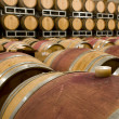 Wine cellar with barrique barrels — Stock Photo