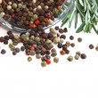 Stock Photo: Color peppercorns in glass jar